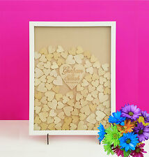 Personalised Shabby Wooden Guest Book dropbox Frame Wedding Engagement 120hearts
