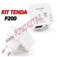 ADATTATORE TENDA P200 KIT 2 ADATTATORI POWERLINE CONVERTITORE RETE LAN ETHERNET