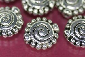 Beads-Perlen-Metallperlen-SILBERSCHNECKE-15-Stueck-Schnecke-Schmuck-basteln