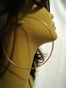 Image Is Loading Large 4 Inch Hoop Earrings Gold Tone Simple