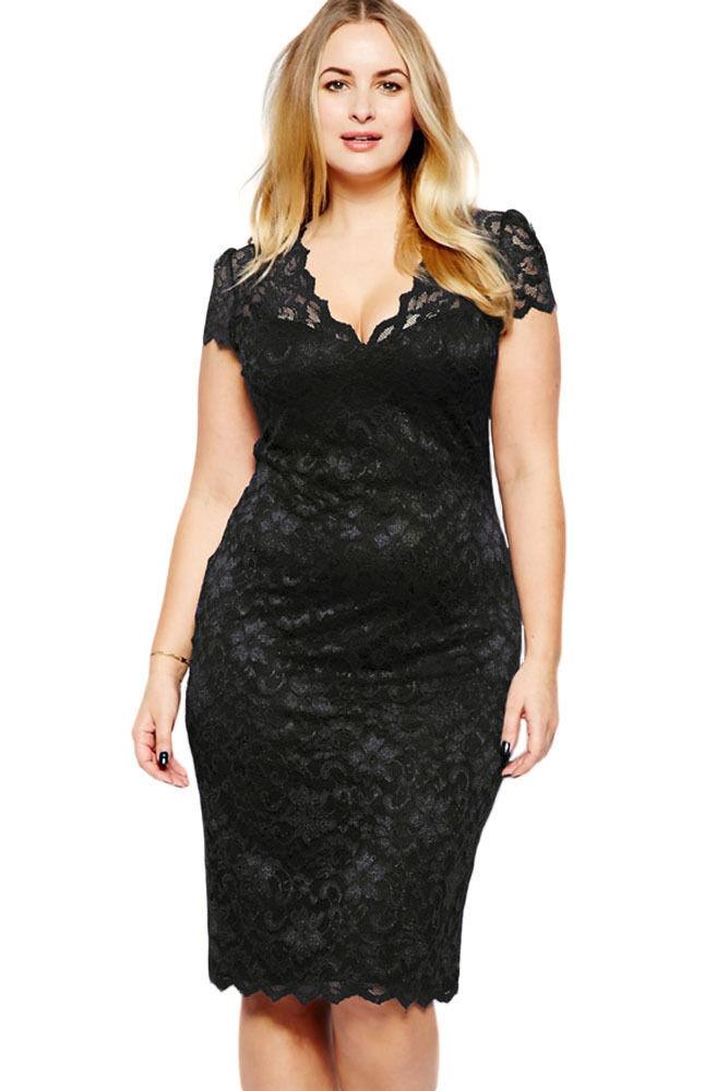 f0f992057702a Plus Size Black Scalloped V Neck Lace Dress .
