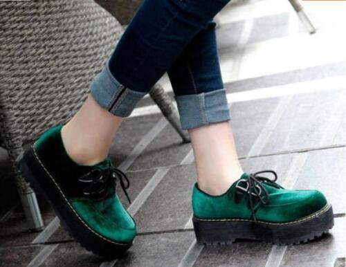 Fashion Women's Up Platform Casual Round Creeper Toe Green Shoes College Lace TrTpxRq