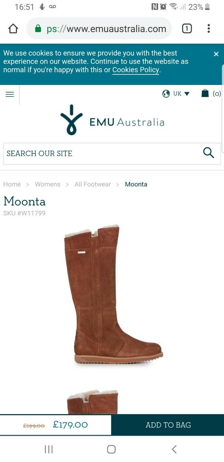 252787cb1e6 EMU Australia Moonta Womens Waterproof Sheepskin Boots SIZE 5 UK NEW  RRP179£ !!