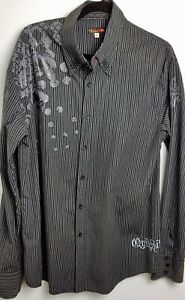 Mens-Quicksilver-Large-Black-Grey-Skull-Longsleeve-Shirt-Pinstripe-Authentic-Lg