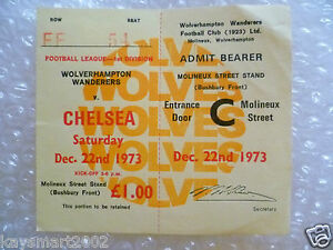 1973 Ticket Wolverhampton Wanderers v Chelsea 22nd Dec 1973 - ilford, Essex, United Kingdom - 1973 Ticket Wolverhampton Wanderers v Chelsea 22nd Dec 1973 - ilford, Essex, United Kingdom