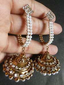 Indian-Gold-Plated-Party-Wear-Traditional-Pearl-Chain-Jhumka-Earrings-Set-Sale