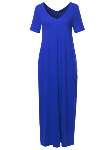 FashionOutfit Women/'s Premium V-neck Short Sleeve Maxi Dress With Side Pockets