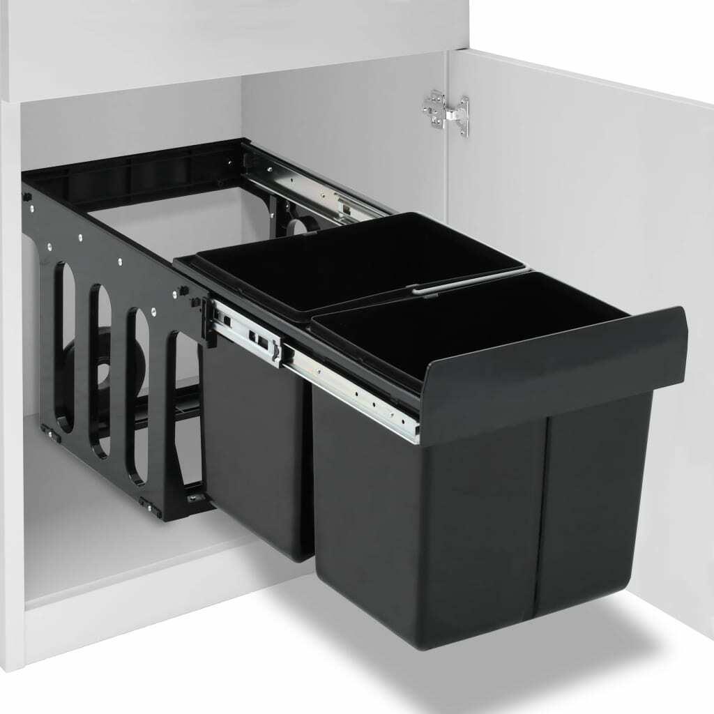 vidaXL Cubo de Basura de Cocina Extraíble Reciclaje Cierre Suave 36L Papelera