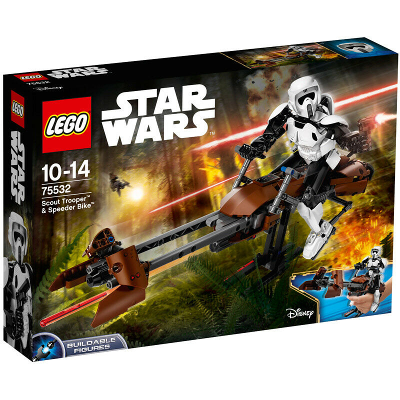 Lego Star Wars superposée figures SCOUT TROOPER et SPEEDER BIKE 75532 NEUF