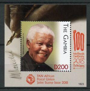 Gambia 2018 MNH Nelson Mandela PAPU Joint Issue 1v S/S berühmten Menschen Briefmarken
