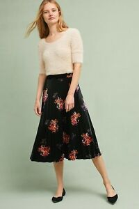 a898c9d04b Image is loading NEW-Anthropologie-Pleated-Floral-Velvet-Skirt-by-Maeve-