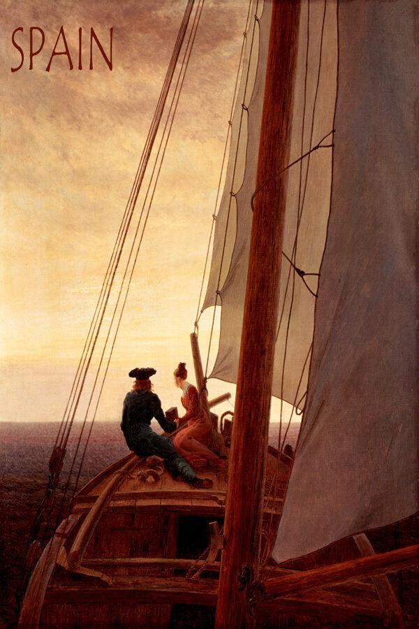 SUNSET SAILING IN SPAIN SEA SAILBOAT ROMANTIC SAIL TRAVEL VINTAGE POSTER REPRO