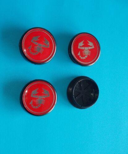 Serie 4 coprimozzo ABARTH fondo rosso diametro 50 mm per Fiat Grande Punto Nuo