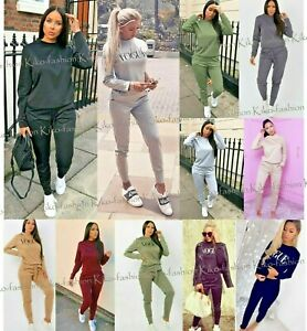 Ladies Comfy 2PCS Tracksuit Reflective Pattern Long Sleeve Top Cuffed Jogger Set