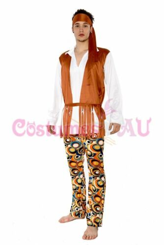 Mens Hippie 60s 70s Peace Groovy Costume Halloween Hippy 1960s 1970s Fancy Dress