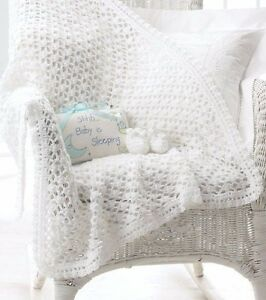 CROCHET-PATTERN-LACY-CROCHET-BABY-BLANKET-SHAWL-amp-BOOTEES