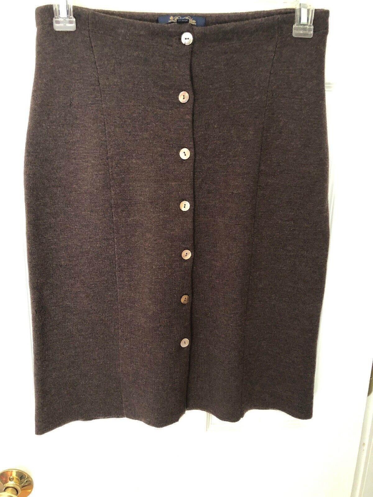 Brooks Bredhers Women's Skirt Pre-Owned Above the Knee Wool Medium Brown Merino