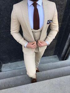 size 40 a8892 4645b Details zu Slim Fit Herrenanzug in Beige Muster mit  Weste,-Smoking-Anzug-Hochzeit-Bühne-Sak