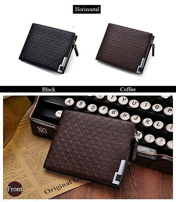 Mens Luxury Soft Quality Leather Wallet Credit Card Coin Holder Purse Brown UK