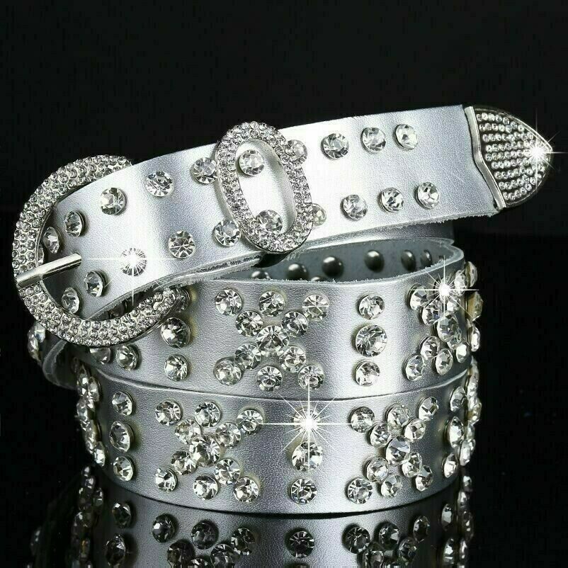 Ladies Genuine Leather Belt Rhinestone Crystal Studded Glitter Bling Waistband