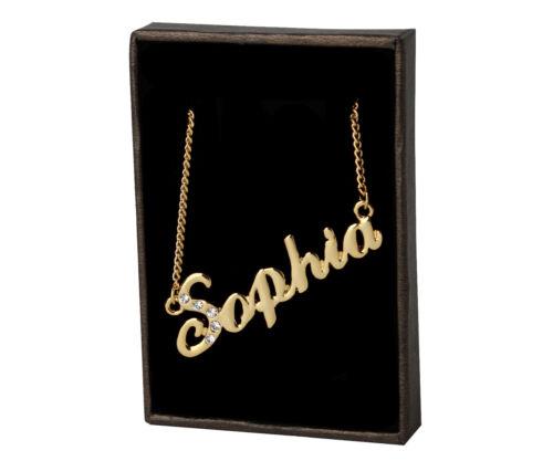 18K Gold PlatedValentines Mother/'s Day Birthday Name Necklace Sophia
