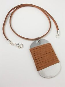 Army-Military-Dog-Tag-Men-039-s-Brown-Suede-Leather-Pendant-Necklace-Lobster-Clasp