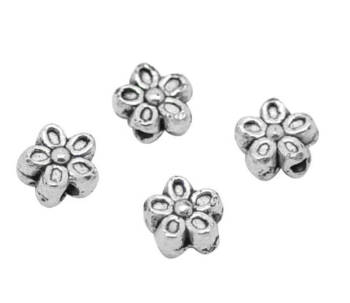 ❤ 25 x Antique Silver FLOWER Spacer Beads Findings 6mm Jewellery Making #0080 ❤