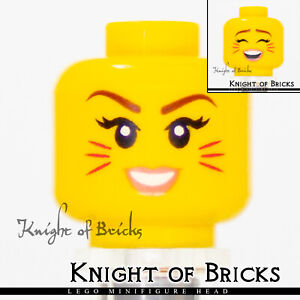 LEGO Minifigure Head BROWN Female Girl Dual Sided Red Lips Smile Determined