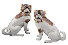 Fine Pair of Carl Thieme Dresden Porcelain Pug Dog Figurines / Statues