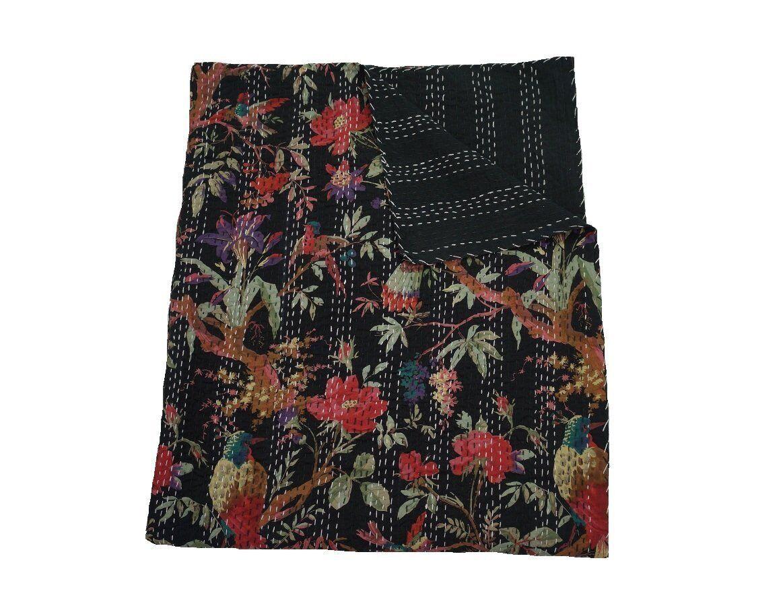 Kantha Throw Blanket Handmade Bedcover Bedsheet Baby Quilt Hippie Boho..