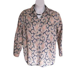 Pastel-Paisley-Shirt-Plus-Size-1X-16W-18W-Blouse-Navy-Chaps-NO-IRON-Casual