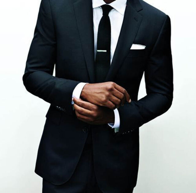 Men S Black Wedding Tuxedos Custom Made Groom Suits Groomsmen Business Suit Uk