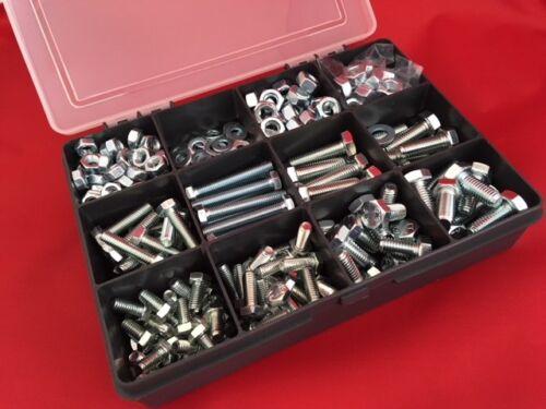 M6 M8 Grade 8.8 Assorted Kit Nuts /& Bolts Setscrews Washers Zinc Plated 405 pcs