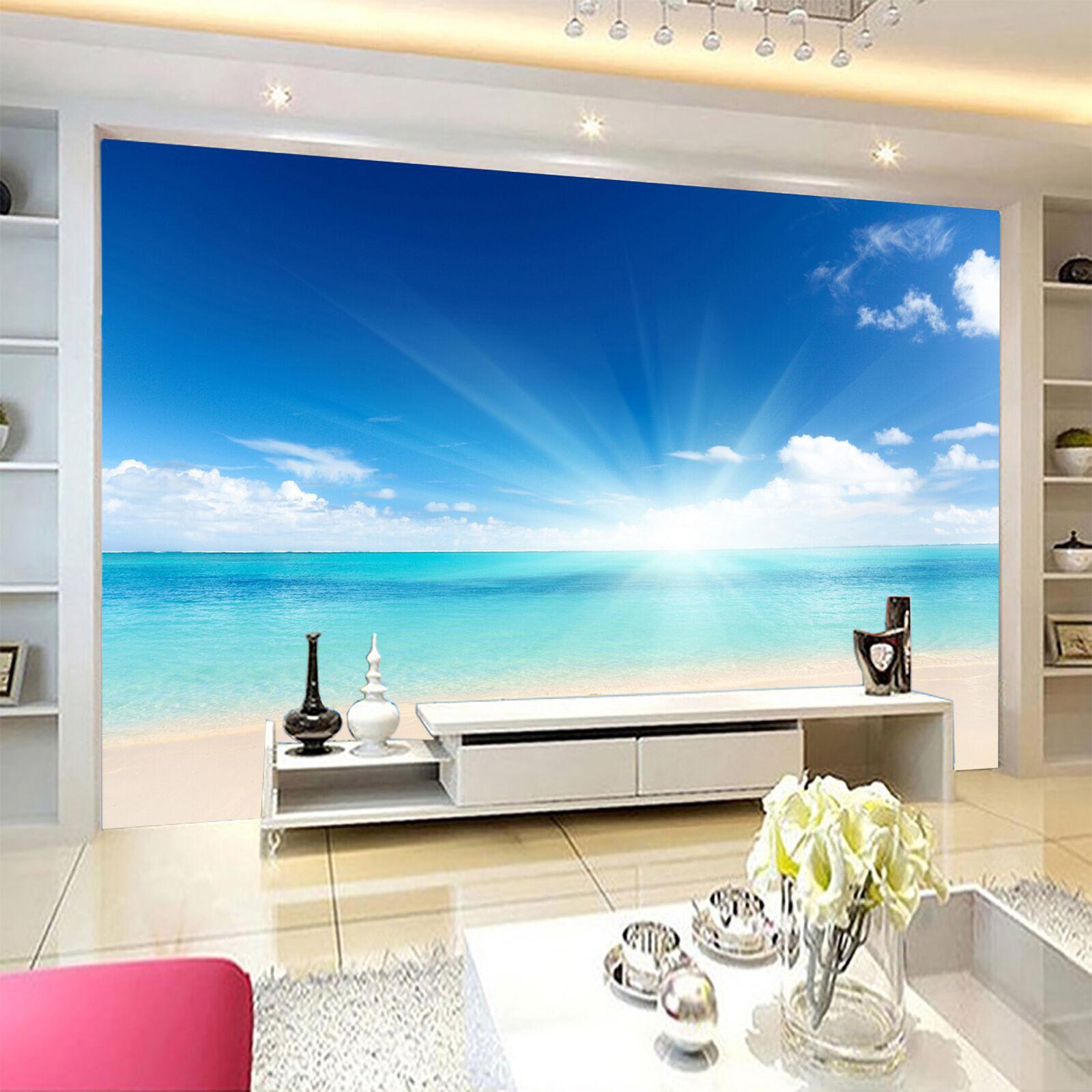 3D bule Sunshine sea Wall Paper Print Decal Wall Deco Indoor wall Mural