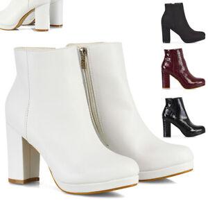 Mujer-Botas-al-Tobillo-Plataforma-Bloque-Talon-Damas-Moda-Botines-Zapatos-Talla-3-8