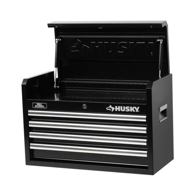 Husky 4 Drawer Toolbox Steel 26in Tool Chest Mechanics Tools Storage Cabinet