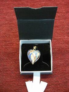 14k Murano Glass Puffy Heart W Gold Dust Amp Blue Enamel
