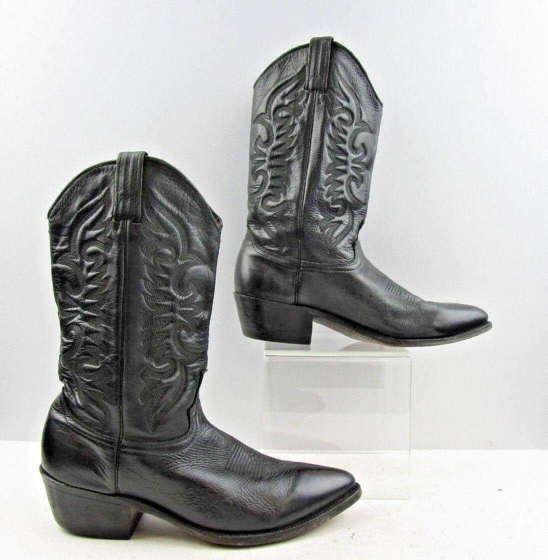 Men's Abilene Black Leather Soft Pointed Toe Cowboy Western Boots Size  9.5 D
