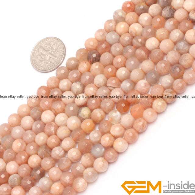 Natural Faceted Round Sun Stone Jewelry Making Gemstone Loose Strand 15""
