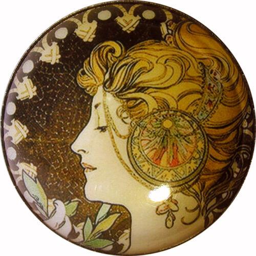 Art Nouveau Woman Button Crystal Dome LgSz M35 Laurel FREE US SHIPPING