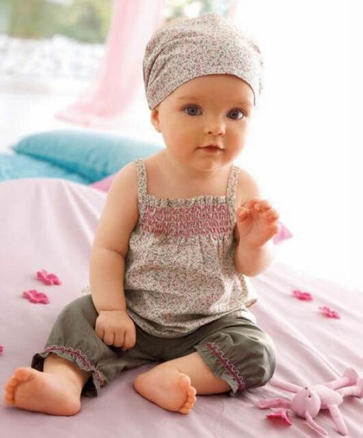 3pcs Baby Girls Kids Clothing Sets Headbands Headscarf+Top Skirt+Pants Flower