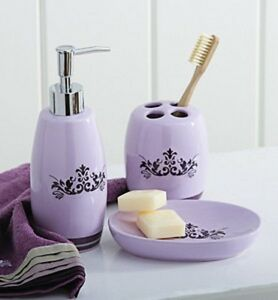 Set of three purple bath accessory set soap dish pump toothbrush ebay - Purple bathroom accessories uk ...
