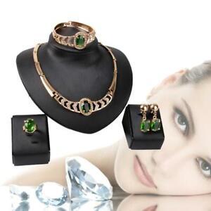 Gold-Plated-Rhinestone-Crystal-Pendant-Choker-Necklace-Earrings-Bracelet-Ring-DI