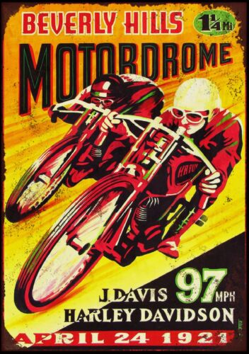 "2 Harley Davidson Bike Race10x8/"" Retro Vintage Metal Advertising Sign Wall Art"