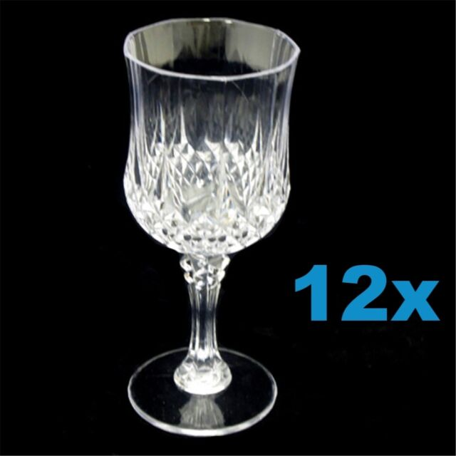 12 Reusable Wine Glasses - 210ml Bulk Red White Wine Drink Plastic Clear Cups