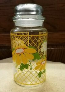 Vintage-Hildi-Glass-Jar-Lidded-Floral-Daisy-Lattace-Container-Apothecary-8-5-034