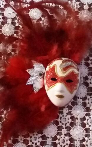 Masque Vénitien,Polymère pour déco rouge 2 tons avec attache et aimantN°2110