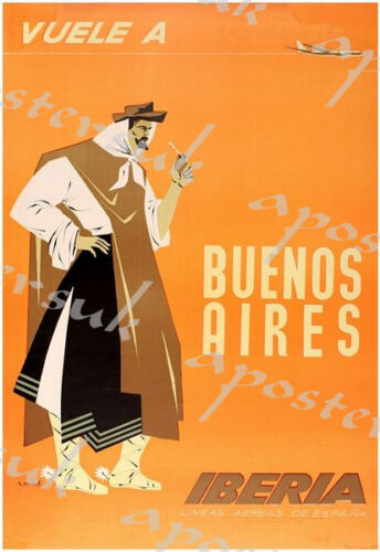 Vintage Iberia Spanish Airlines Buenos Aires Poster A3//A4 Print