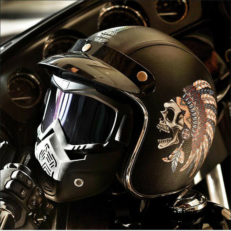 Leather Motorcycle Helmet Indian Tribal Chief Half Face