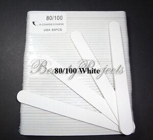 50pcs) Professional 80/100 Grit White Acrylic Nail Files Plastic ...